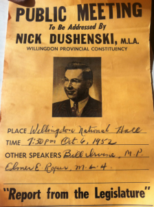 Nick Dushenski MLA - Report from the Legislature - 1952 poster