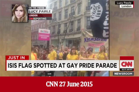 isis flag at gay pride parade london 2015