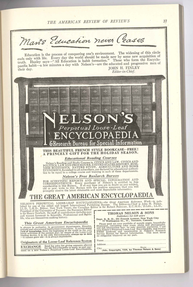 The American Review of Reviews December 1924 - Nelson's Encylopaedia