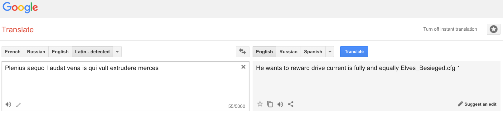 Horace meets Google Translate