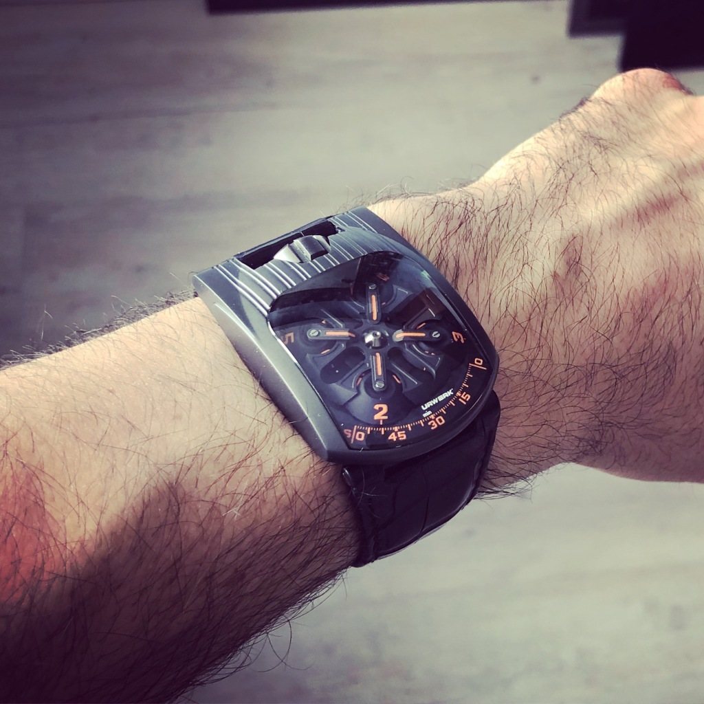 URWERK 103T Mexican Fireleg - Stainless Steel - wrist shot